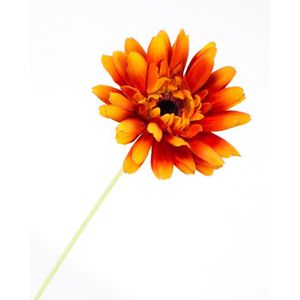 FLEUR ARTIFICIELLE Gerbera artificiel, orange, tige velours, 55 cm, Ø