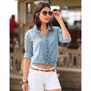 99b16961163 CHEMISE - CHEMISETTE Chemise jean manches longues passementerie femme ...