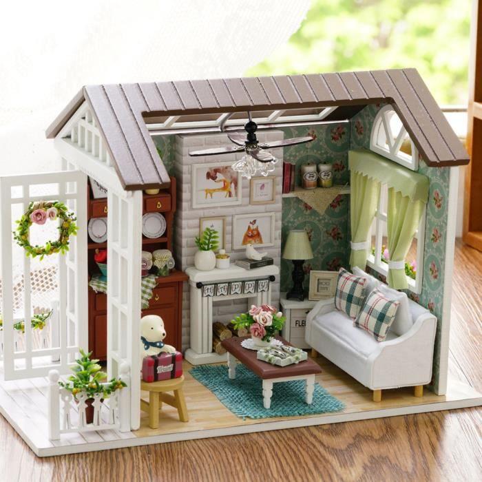 Decdeal 3d Dollhouse Miniature Kit Manuel Decoration De Maison Cadeau De Noel Pour Enfants Temps De Cafe 21 12 5 14 5cm