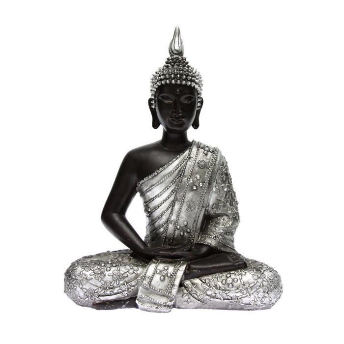 statue bouddha statuette boudha assis argent vieilli. Black Bedroom Furniture Sets. Home Design Ideas