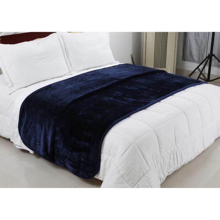 plaid bleu220x240 achat vente plaid bleu220x240 pas cher cdiscount. Black Bedroom Furniture Sets. Home Design Ideas