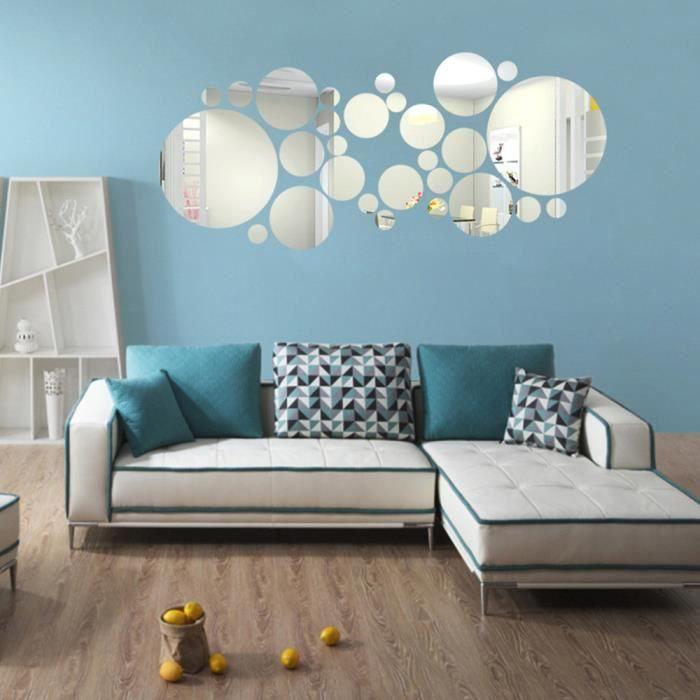 Ronde Autocollant Miroir Acrylique Fond Murale Décoration De Chambre à  Coucher