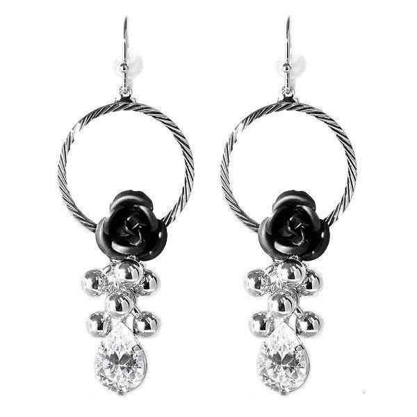 Élégant Rose Noire Boucles DOreilles Avec Des Cristaux De Verre (2997)