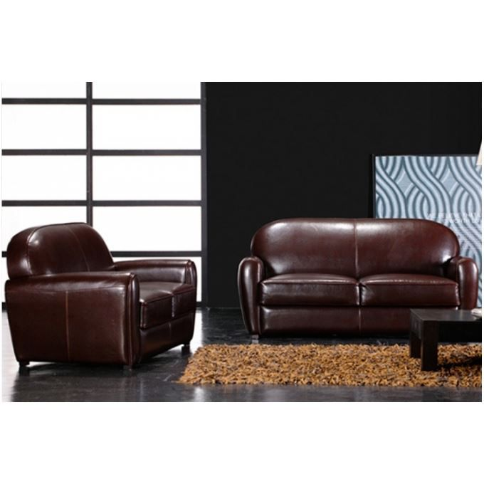 Canape Club Marron 3 Places Broadway Achat Vente Canape Sofa