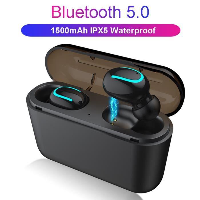 Ecouteurs Sans Fil, Gobro Tws Stereo Bluetooth 5.0 Avec Hd Mic Integre Et 1500mah Boîte De Charge - Noir