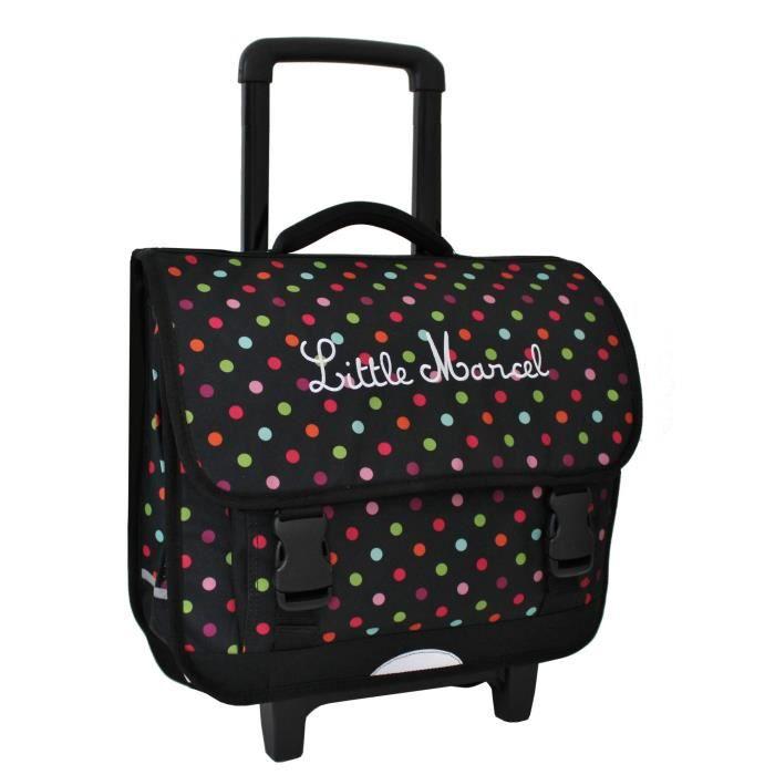 cartable roulettes scolaire little marcel pois noir pois achat vente cartable. Black Bedroom Furniture Sets. Home Design Ideas
