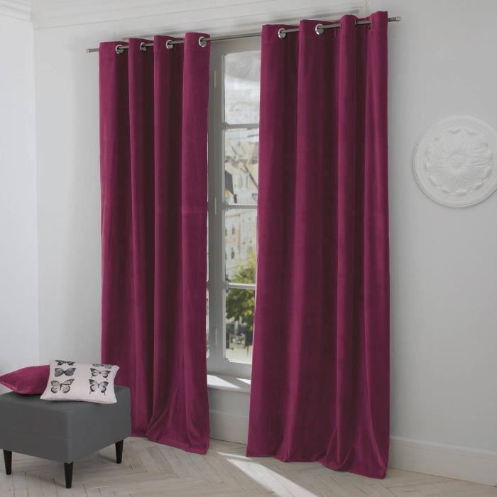 Paire de rideaux rideau occultant couleur violet fonce - Poser des anneaux de rideaux ...