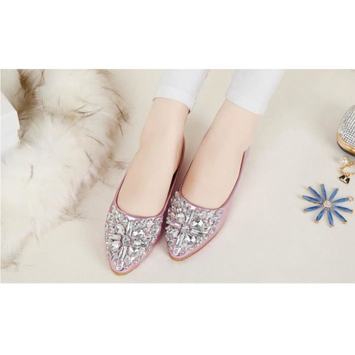 Pure Color Casual Femmes Pointu Chaussures plat...