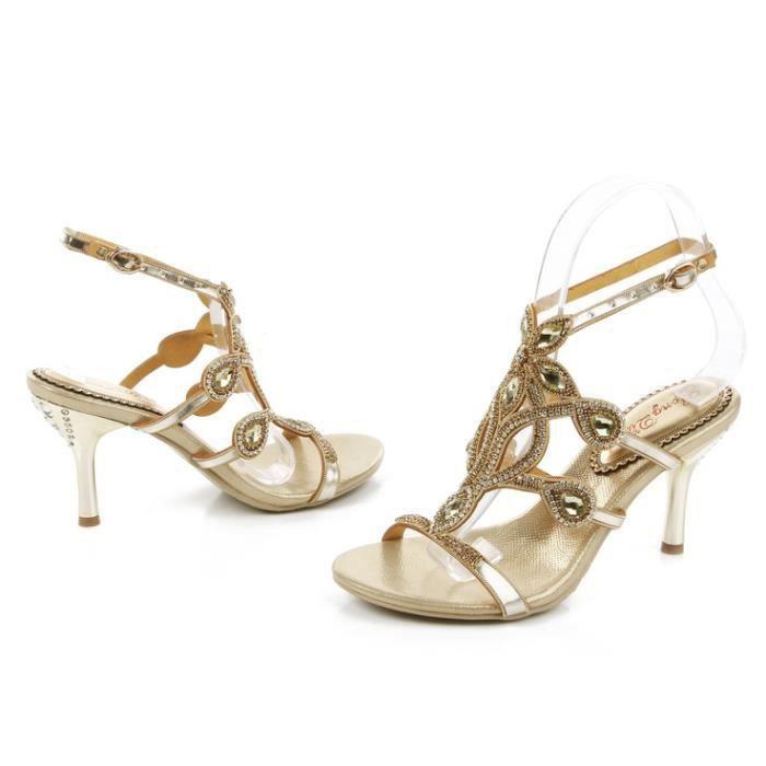 Nouveau papillon bohême or strass cloutés sangle cheville sandales minces mariée sandales de mariage
