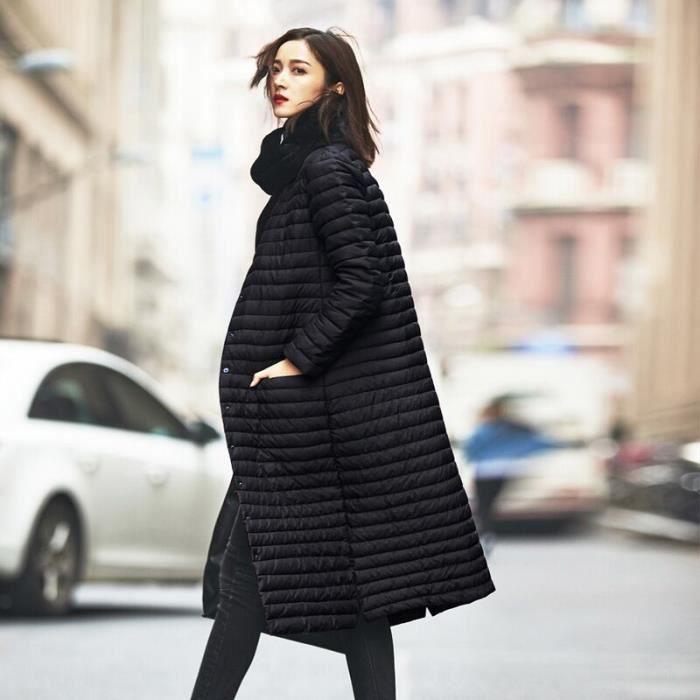 f25ed3b10f8e Femme Mode Doudoune Manteau Longue Léger Vêtement Chaud Elégant NOIR ...