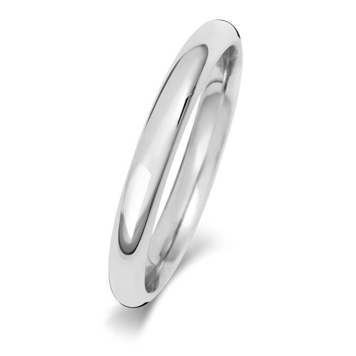 Bague de Mariage-Alliance Homme-Femme 2,5mm Confort Or Blanc 375-1000 31032
