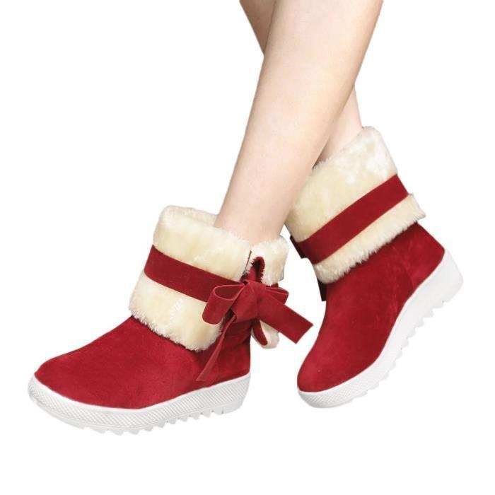 Étudiant Bottes Classique Bowtie Neige Casual Solide yini6966 on Slip Couleur Femme Chaussures De zzqw41g