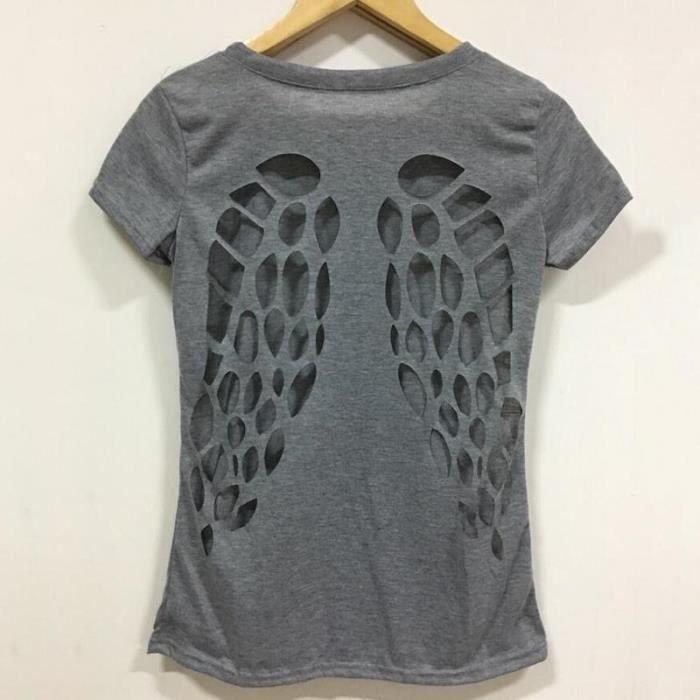 T-SHIRT T-shirt d'été femme Backless aile d'ange creux des