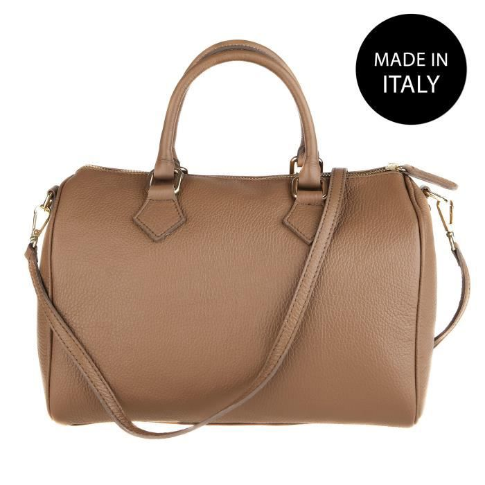 CHICCA BORSE Sac à Main pour Femme en cuir véritable made in Italy bourbier 30x23x18 cm