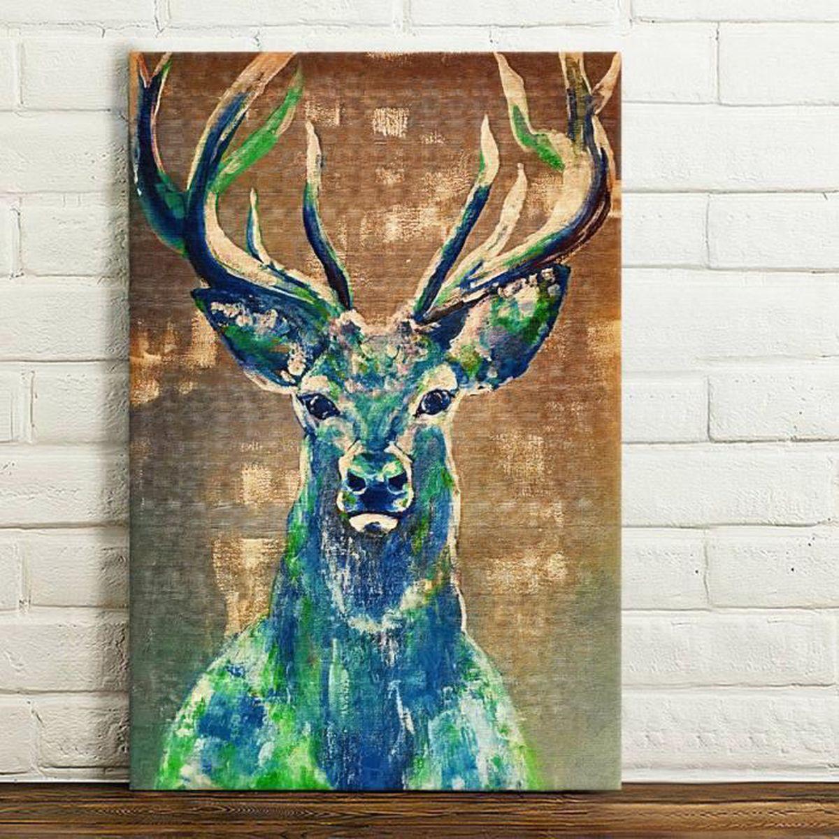 cerf l 39 huile peinture entoile maison d cor moderne abstraite art 40 60cm achat vente tableau. Black Bedroom Furniture Sets. Home Design Ideas