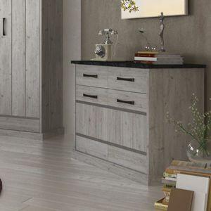 COMMODE DE CHAMBRE Commode 90 cm contemporaine couleur bois gris MORG