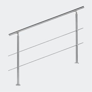 RAMPE - MAIN COURANTE Rampe escalier Acier inoxydable 2 Tiges 140cm Ramb