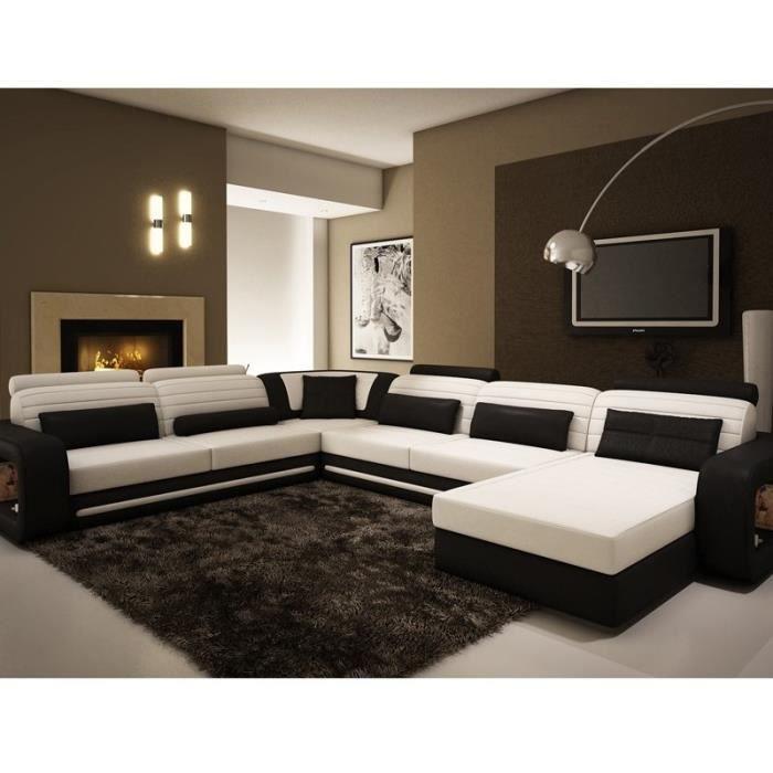 Canape D Angle Panoramique En Cuir Noir Et Blanc Achat Vente