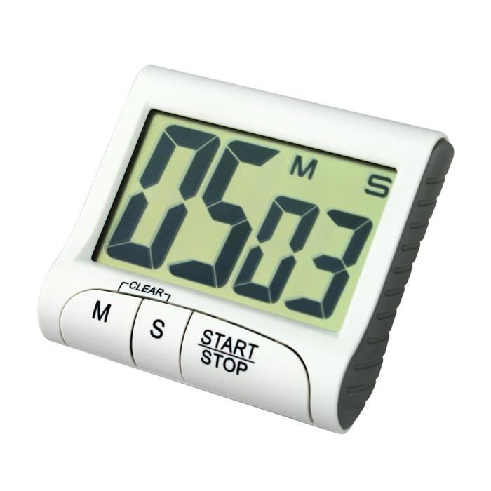 Horloge de compte à rebours numérique portable grand écran LCD alarme pour  cuisine Cook KL1393