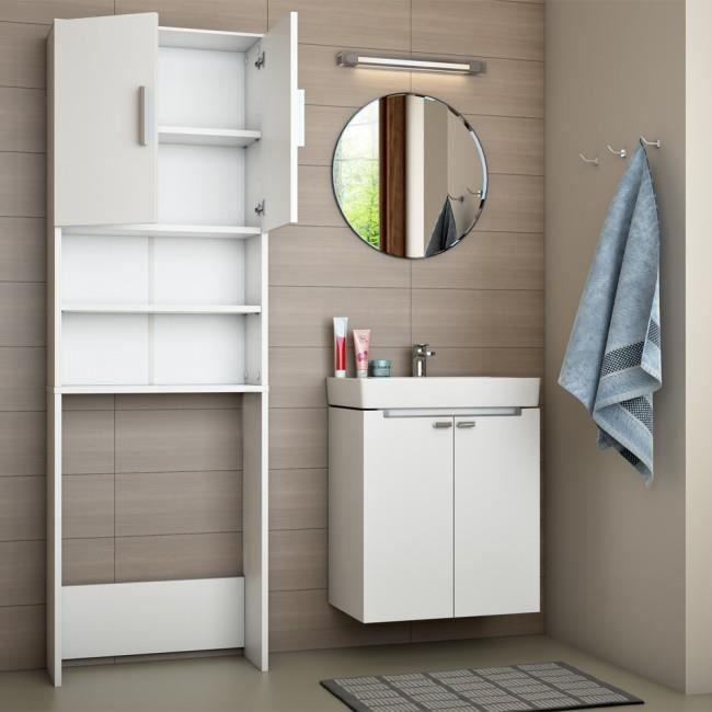 lave linge armoire salle de bain tag re 190x60cm blanc achat vente meuble bas commode sdb. Black Bedroom Furniture Sets. Home Design Ideas