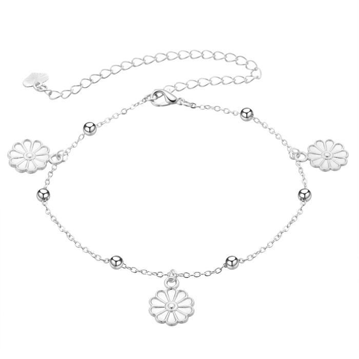 Fine Jewelry Silverly Argent Cheville Chaine Fleur Charm Jewelry & Watches