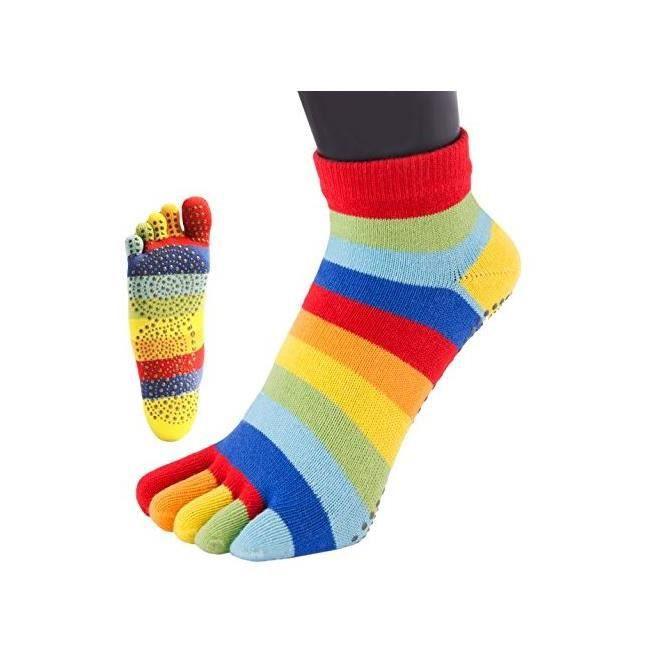 a14cfa5446b23 TOETOE chaussettes à doigts basse anti dérapantes rayures arc en ciel