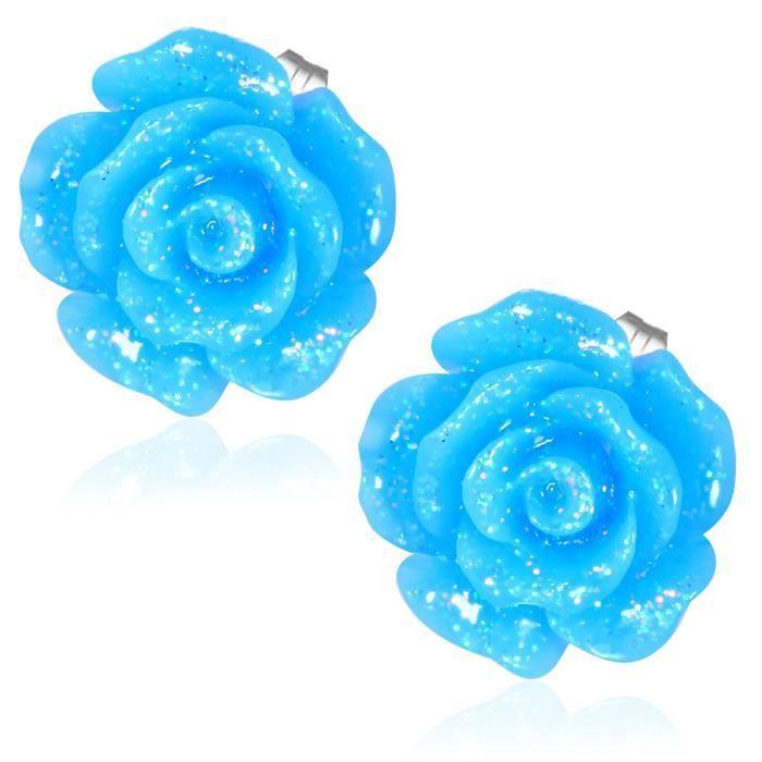 boucle doreille fleur rose de couleur bleu ciel achat vente boucle d 39 oreille boucle doreille. Black Bedroom Furniture Sets. Home Design Ideas