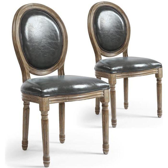 2a16f339c9842 Lot de 2 chaises médaillon Louis XVI Simili (P.U) Gris - Achat ...