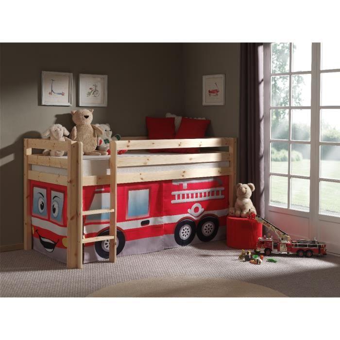 lit sur lev gar on 90x200 coloris naturel en pin massif. Black Bedroom Furniture Sets. Home Design Ideas