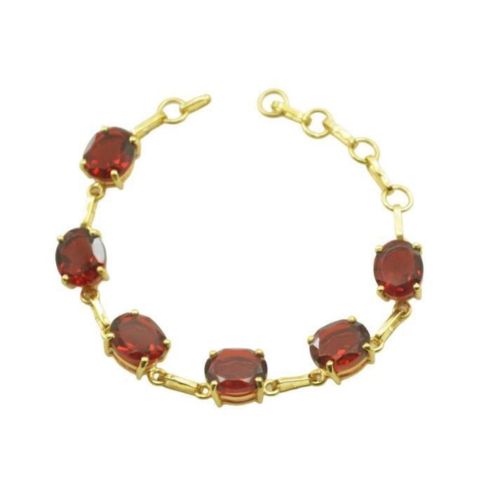Ruby CZ Bracelet - Bracelet plaqué or - Bracelet Rouge - Bracelet plaqué or rouge
