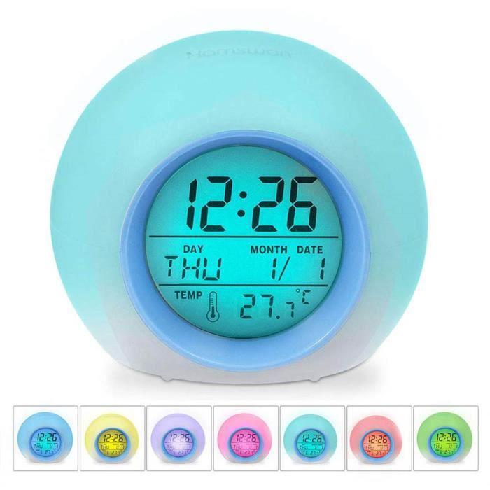 Réveil 7 Couleurs Lumière De Nuit Lampe Table Affichage Température Intérieure Pour Parent Étudiant(bord L'écran: Bleu)