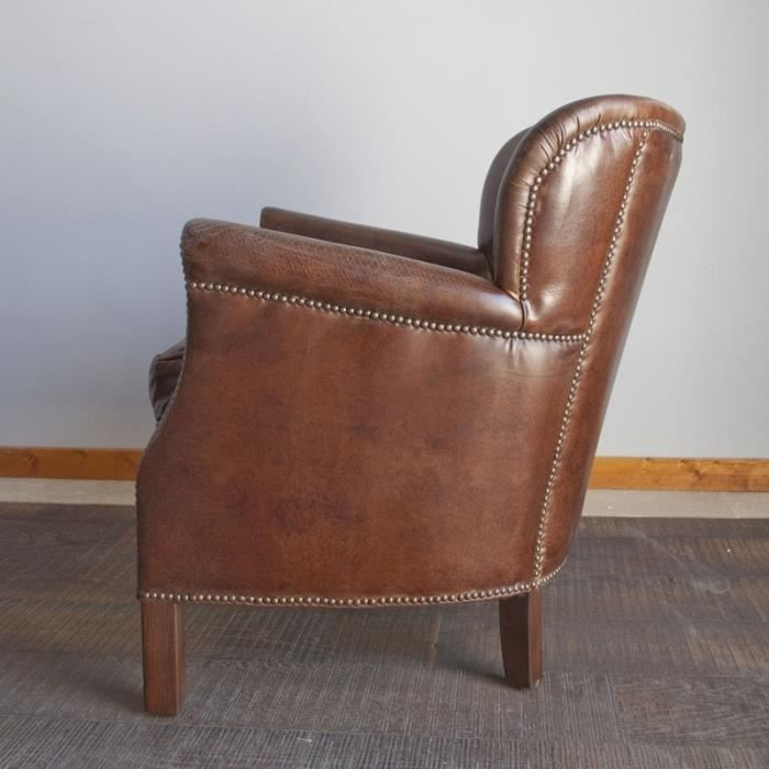 Fauteuil Cuir Turner Chehoma Achat Vente Fauteuil Cdiscount