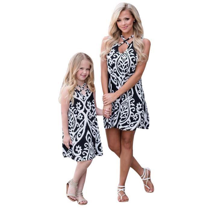 Maman et fille Bohême Floral Robe courte Vêtements famille Casual (Maman, L)