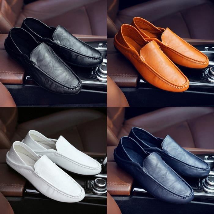 cuir véritable automne mâle mode semelle extérieure en cuir souple été mâle hommes pédale prélassait & # 39; chaussures bateau de yIHTCMugV