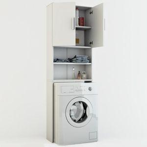 meuble bas commode sdb lave linge armoire salle de bain tagre 190x60cm