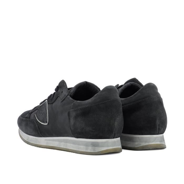 PHILIPPE MODEL HOMME TRLURW04 GRIS CUIR BASKETS MONTANTES