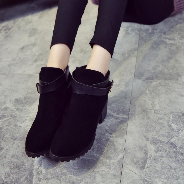Femmes hiver neige dames talon bas cheville boucle de ceinture Martin bottes chaussures