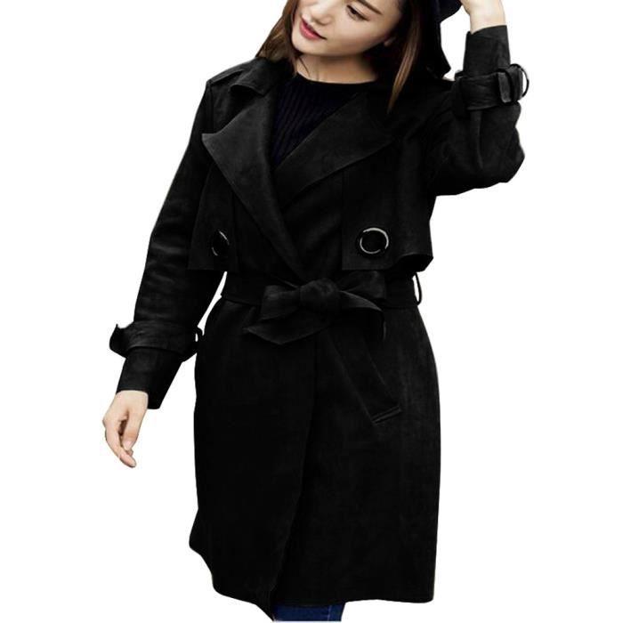 Femme Coat506 Manteau Veste Mode Pardessus Automne Coupe Parka Noir Suede vent Hiver Outwear f4dRqwA17