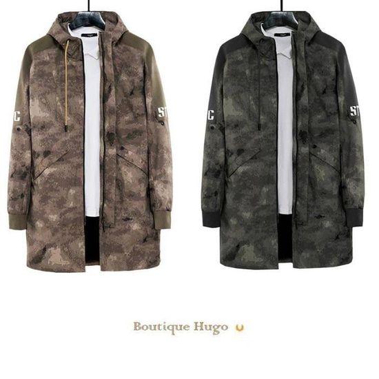 Militaire Coat Veste Homme Mi longue Saison Mi Camouflage Trench Capuche qXpUZRwO