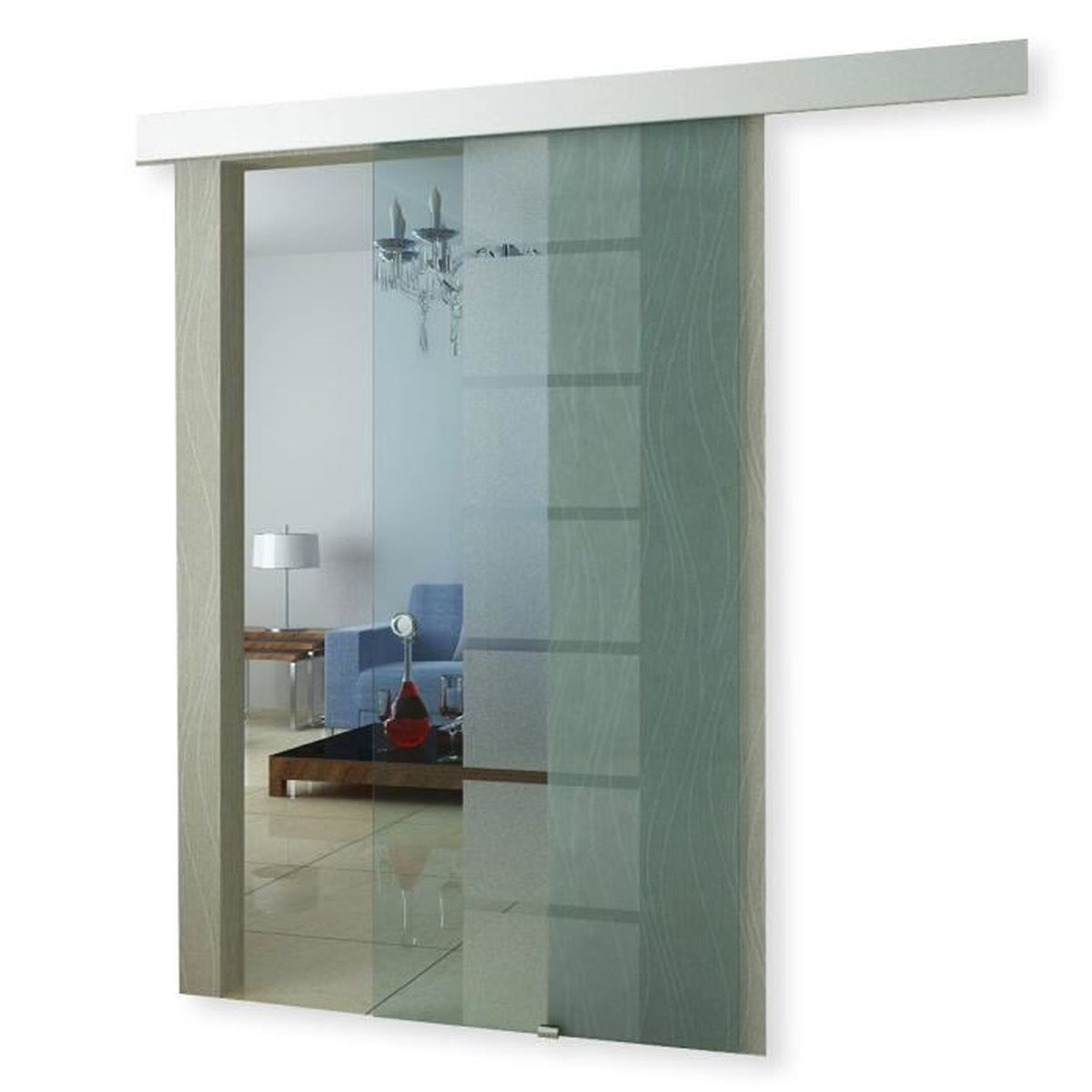 porte coulissante en verre galandage transparent achat vente porte coulissante porte