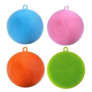 ÉPONGE VAISSELLE 4Pcs Lave-vaisselle en silicone nettoyant éponge n