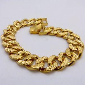 BRACELET - GOURMETTE 12mm large Hommes bracelet Or jaune 18k plaqué cla
