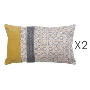 lot de 2 coussins 30x50 cm en coton jaune et gris saumur. Black Bedroom Furniture Sets. Home Design Ideas