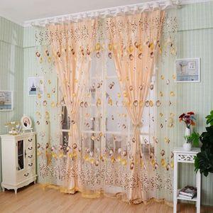 2pcs 1m 2m el gant voilages voile tulle de porte fen tre for Decoration fenetre chambre a coucher