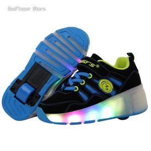 Enfants Roller Heelys Sneaker avec une roue Mode LED lumineux clignotant patins enfants garçon fille chaussures - Bleu jdx5Kb