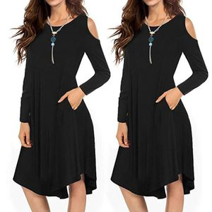 ROBE Femmes Casual solides épaule froide loose manches