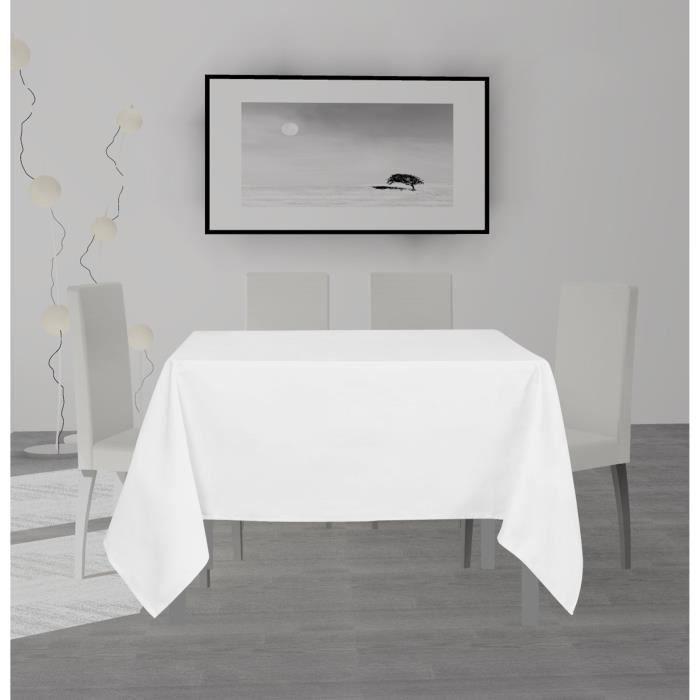 SOLEIL D'OCRE Nappe anti-tâches carrée Alix - 140 x 140 cm - Blanc