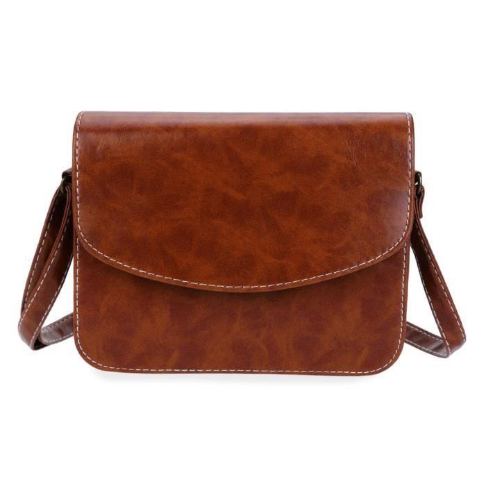 72c09d99a7 profonde et marron Mini Sac bandoulière femme imitation cuir Messenger  paquets Satchel Sacs à main