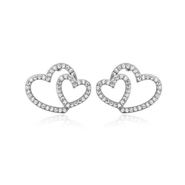 Idée Cadeau Noël - Boucles doreilles Coeur Plaqué Rhodium et Cubic Zirconia Blanc - Blue Pearls