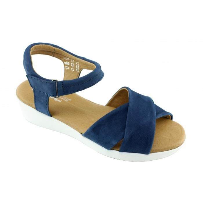 4da05b2bfc096e Dina - Sandale compensée à scratch Nu-pied confort pied sensible chaussures  semelle bloque pour Femme marque Aérobics cuir bleu